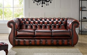 Chesterfield Kimberley Leather Sofa Antique Light Rust