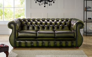 Chesterfield Kimberley Leather Sofa Antique Olive