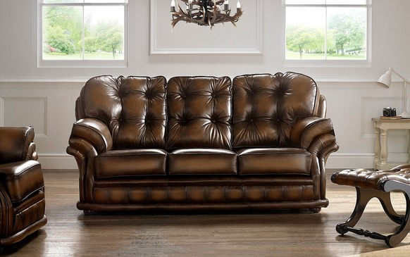 Chesterfield Knightsbridge Leather Sofa 3 Seater Antique Autumn Tan