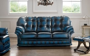 Chesterfield Knightsbridge Leather Sofa 3 Seater Antique Blue