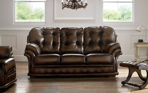 Chesterfield Knightsbridge Leather Sofa 3 Seater Antique Brown