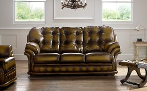 Chesterfield Knightsbridge Leather Sofa 3 Seater Antique Gold