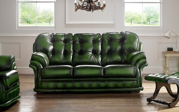 Chesterfield Knightsbridge Leather Sofa 3 Seater Antique Green