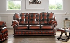 Chesterfield Knightsbridge Leather Sofa 3 Seater Antique Light Rust