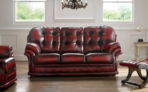 Chesterfield Knightsbridge Leather Sofa 3 Seater Antique Oxblood