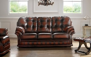 Chesterfield Knightsbridge Leather Sofa 3 Seater Antique Rust