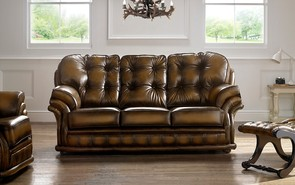 Chesterfield Knightsbridge Leather Sofa 3 Seater Antique Tan