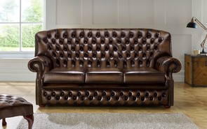 Chesterfield Monks Leather Sofa 3 Seater Antique Brown