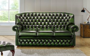 Chesterfield Monks Leather Sofa 3 Seater Antique Green
