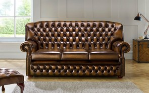 Chesterfield Monks Leather Sofa 3 Seater Antique Tan
