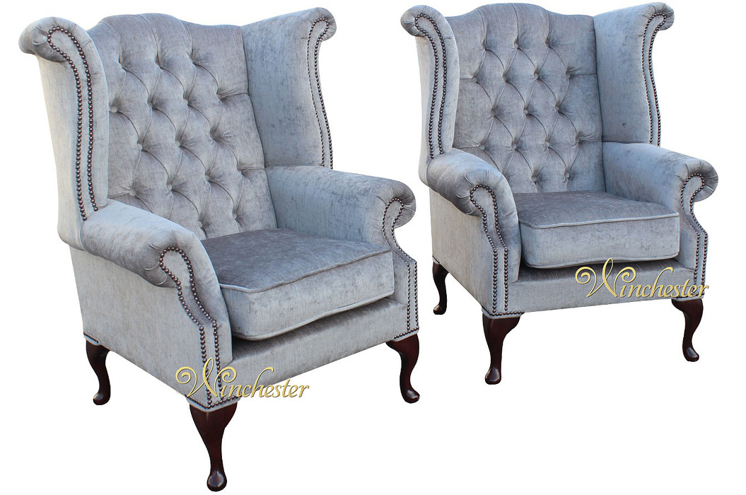 2 X Chesterfield Queen Anne Fireside Wing Chairs Perla Illusions Grey Velvet Fabric Wc