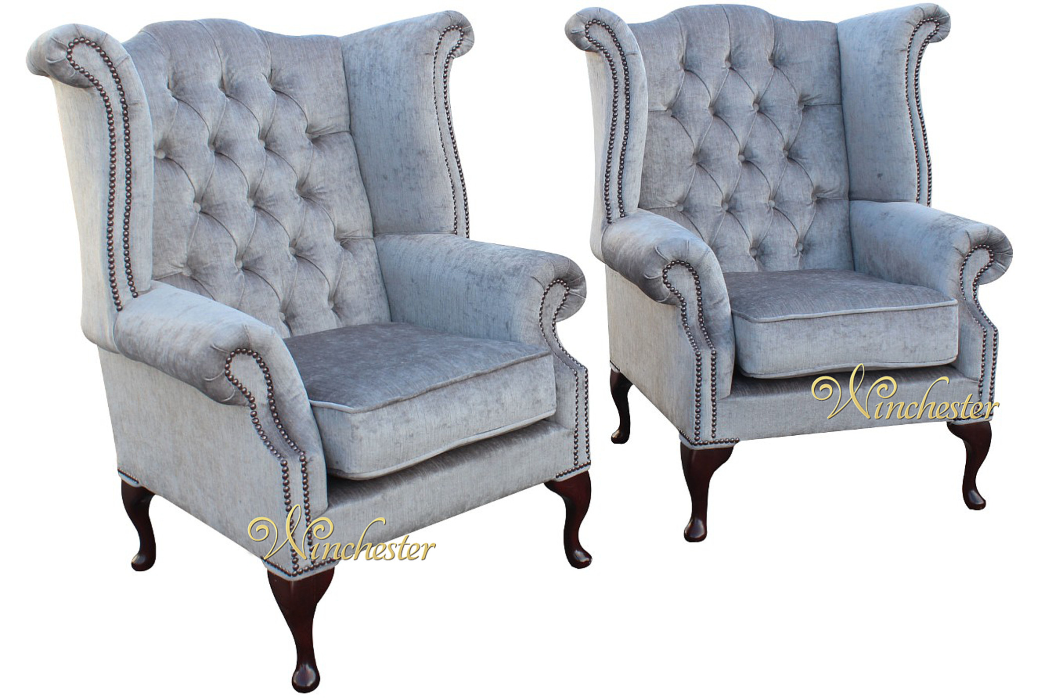 Perfect 2 X Chesterfield Queen Anne Fireside Wing Chairs  Perla Illusions Grey Velvet Fabric Wc
