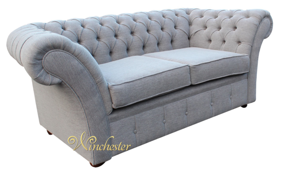 Chesterfield Balmoral 2 Seater Sofa Settee Verity Plain Silver