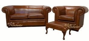 Chesterfield 1930 2 Seater + Club Chair + Footstool Settee Old English Bruciatto Leather Sofa Offer