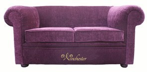 Chesterfield 1930's 2 Seater Settee Purple Aubergine Fabric Sofa