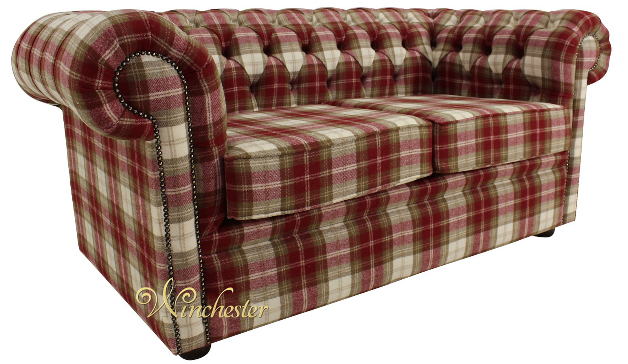 Chesterfield Arnold Wool 2 Seater Sofa Settee Fernie Red