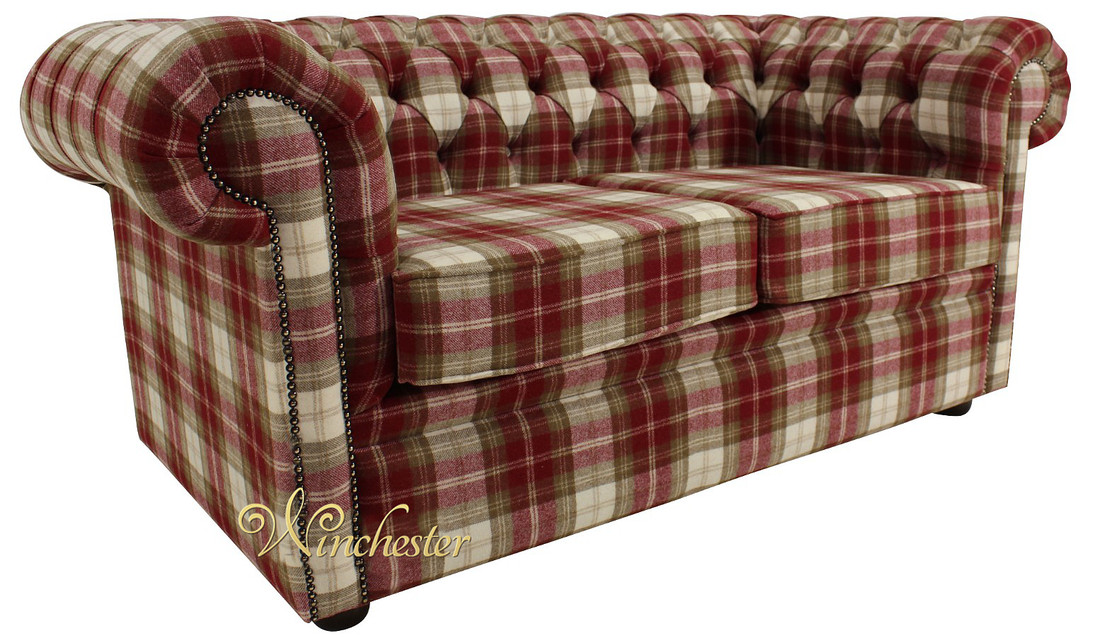 Chesterfield Arnold Wool 2 Seater Sofa Settee Fernie Red ...