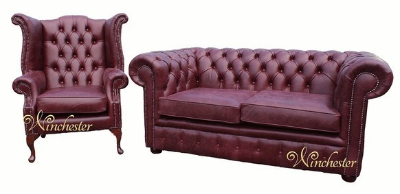 Chesterfield 2 Seater Settee + Wing Chair Old English Burgandy Leather Sofa Suite Offer