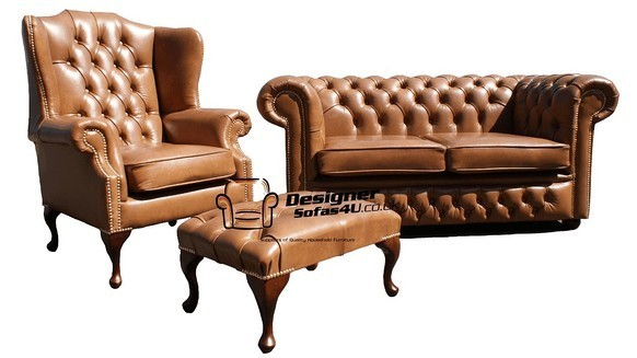 Chesterfield 3 Seater Balston Leather Sofa Antique Brown