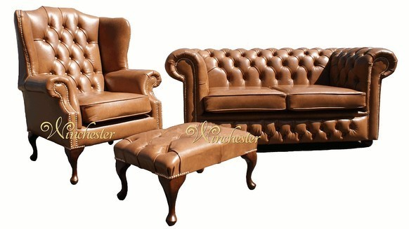 Chesterfield 2 Seater Settee + Mallory Wing Chair + Footstool Old English Tan Leather Sofa Suite Offer