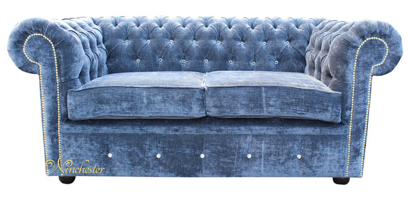 Chesterfield Swarovski CRYSTALLIZED™ Diamond 2 Seater Blue Velvet Sofa Offer
