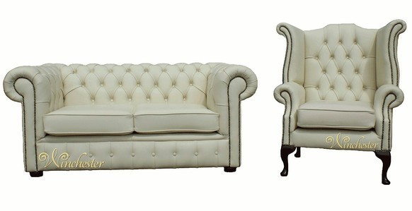 Chesterfield 2+1 Seater Cream Leather Sofa Offer