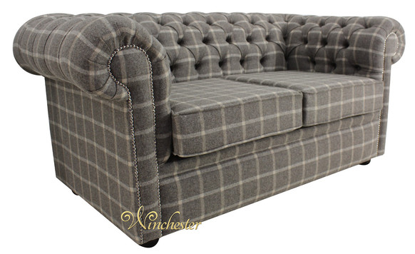 Chesterfield Arnold Wool 2 Seater Sofa Settee Reflection Hessian Tweed Check