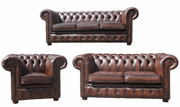 Chesterfield 3+2+1 Leather Sofa Offer Antique Brown