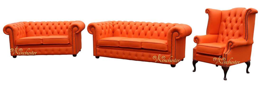 chesterfield 3 2 1 three piece leather sofa suite mandarin orange offer