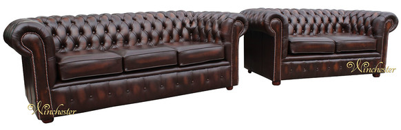 Chesterfield London 3+2 Leather Sofa Suite Offer Antique Brown