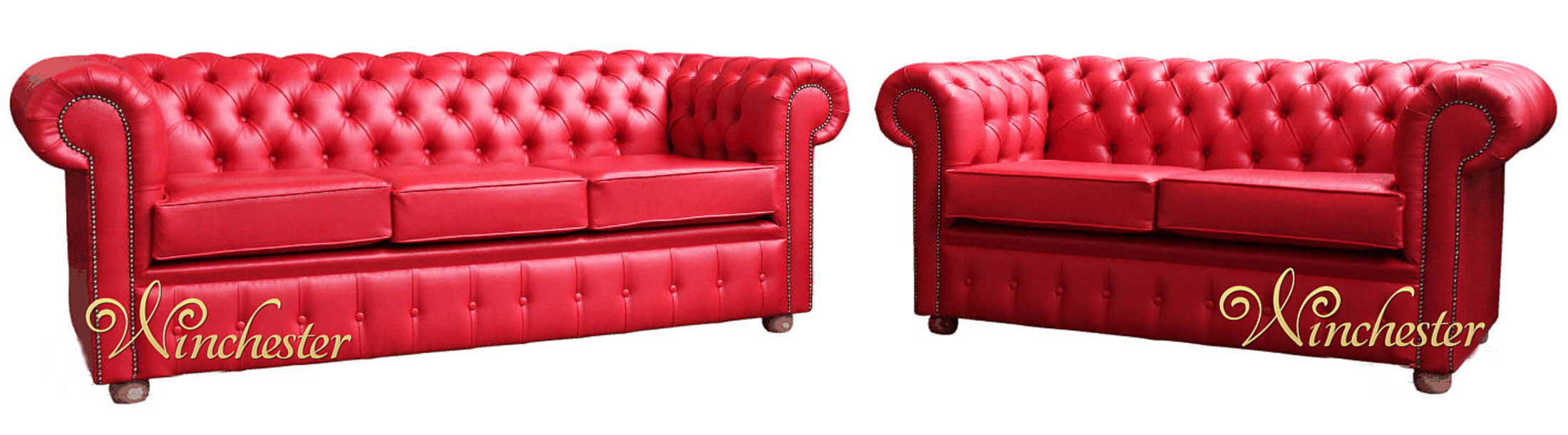 Chesterfield 3 2 Red Faux Leather Sofa Suite Wc