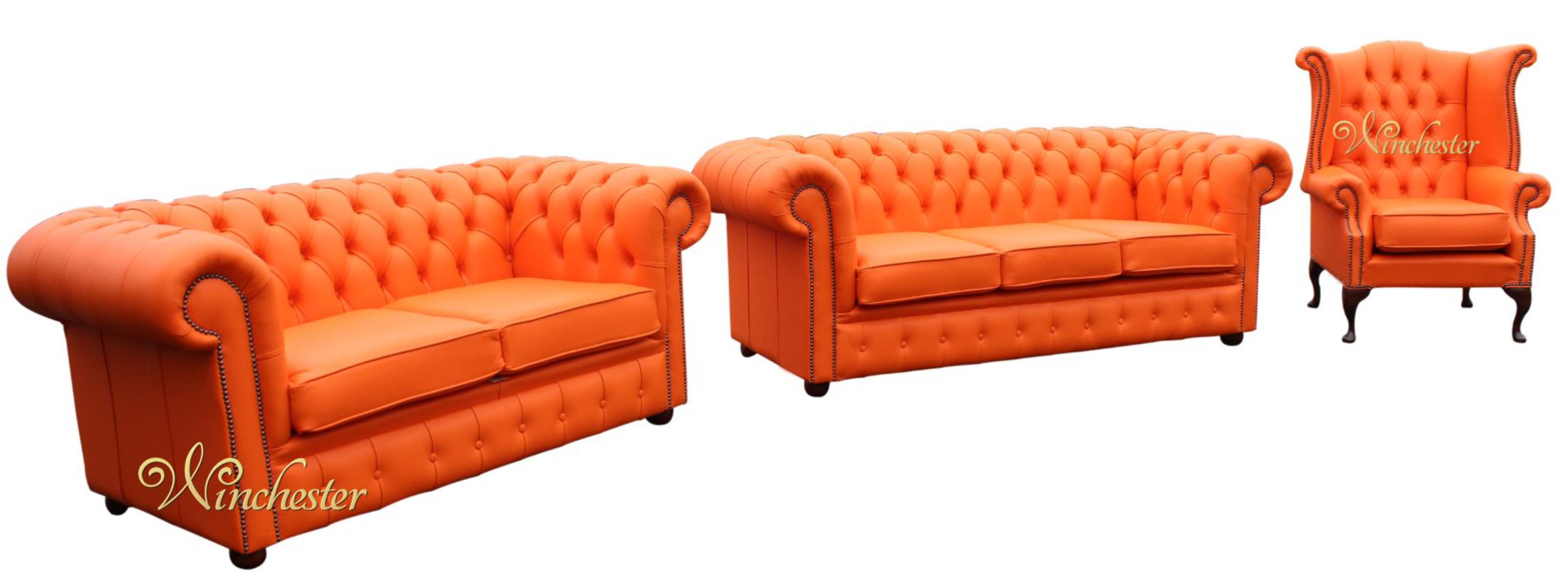 Chesterfield 3+2+1 Three Piece Leather Sofa Suite Mandarin Orange Offer