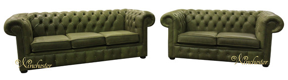 Chesterfield Suite 3+2 Seater Settee Selvaggio Sage Green Leather Sofa