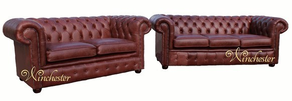 Chesterfield Suite 3+2 Seater Settee Old English Chestnut Leather Sofa