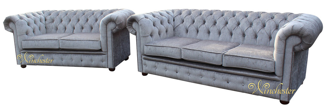 Chesterfield 3 Seater + 2 Seater Settee Perla Illusions Grey ...
