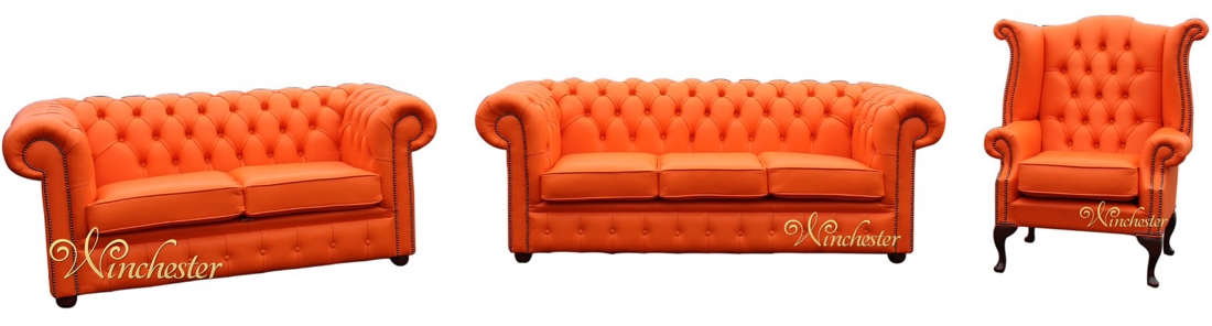 Chesterfield 3 2 1 three piece leather sofa suite mandarin orange offer Mein sofa to go