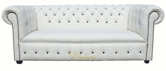 Chesterfield Fixed Seat Leather Sofa Offer White Leather Black Buttons