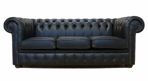 Chesterfield 3 Seater Black Leather Sofa Offer