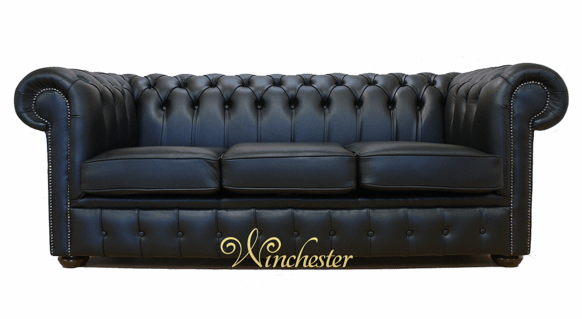 Chesterfield Black Leather Sofa Offer