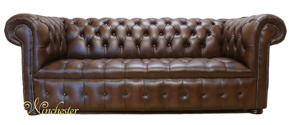 Chesterfield Edwardian 3 Seater Leather Sofa Offer Antique Brown