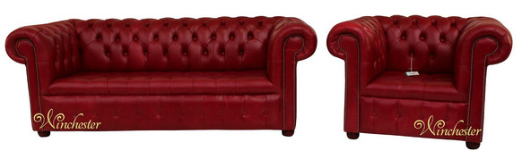Chesterfield 3 Seater Settee + Club Chair Old English Gamay Red Leather Sofa Suite Offer