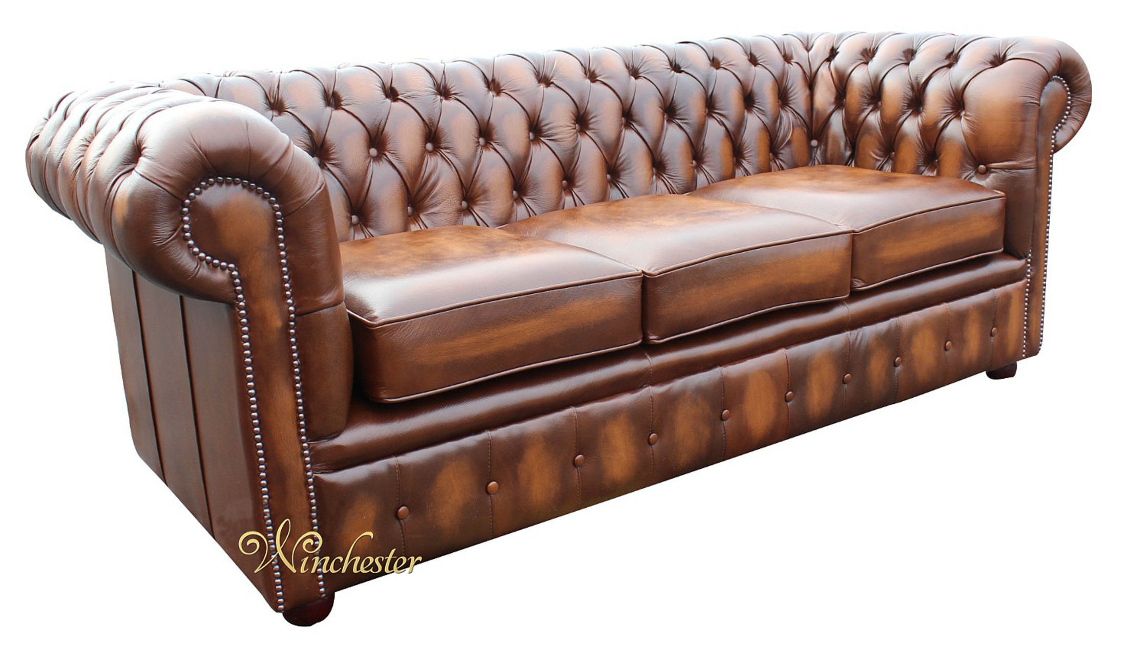 Chesterfield 3 Seater Sofa Settee Antique Tan Leather 2 Wc