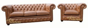 Chesterfield 3 Seater Settee + Club Chair Old English Tan Leather Sofa Suite Offer