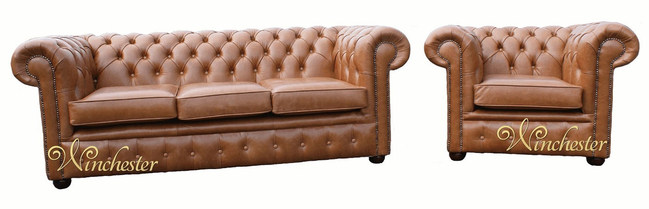 Chesterfield 3 Seater Sofa Settee Club Chair Old English Tan Leather Wc