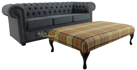 Chesterfield Arnold Wool 3 Seater Sofa Settee Glamis Glacier Grey + Footstool Beningborough Goldcrest