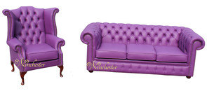 Chesterfield 3 Seater + Queen Anne High Back Wing Chair Wineberry Purple Leather