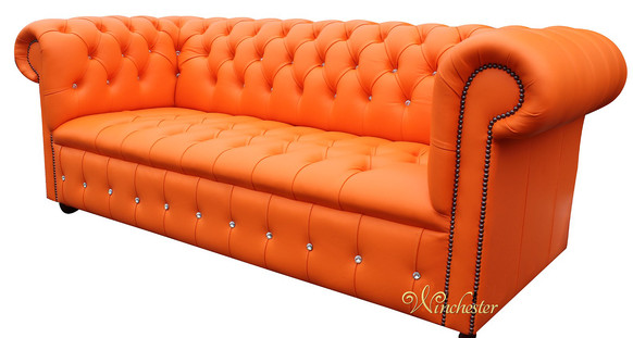 Chesterfield Swarovski CRYSTALLIZED™ Diamond 3 Seater Mandarin Orange Leather Sofa Offer