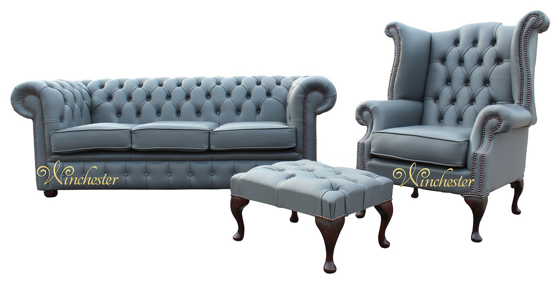 Chesterfield Soft Vele Iron Grey Leather Sofa Offer 3+1+ Footstool, Leather Sofas, Traditional Sofas