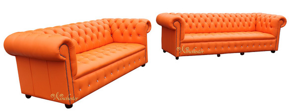 Chesterfield Swarovski CRYSTALLIZED™ Diamond 4 Seater + 3 Seater Suite Mandarin Orange Leather Sofa Offer