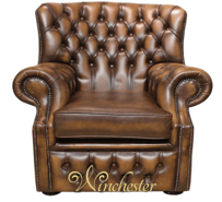 Chesterfield Abbot High Back Wing Chair Antique Tan UK Manufactured Armchair